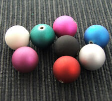 40 x 12mm Round Rubberized Satin Acrylic Beads  for crafts & jewellery