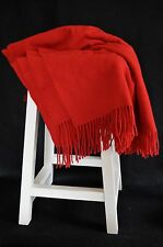 Italian 100% Wool Solid Red Throw Blanket Afghan with Fringe NWOT Home Decor