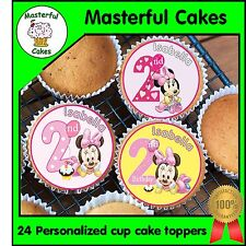 24 PERSONALISED MINNIE MOUSE 2ND BIRTHDAY EDIBLE RICE PAPER CUP CAKE TOPPERS