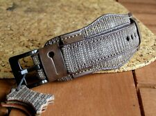 CANVAS & GENUINE LEATHER MILITARY WATCH STRAP 22mm BAND MENs WIDE CUFF BRACELET