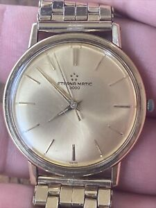 Vintage Eterna-Matic 3000 Automatic Watch Swiss Made Running No Reserve $ 0.01