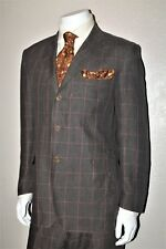 Recent Men's DUNHILL Tobacco Brown w/ Maroone Windowpane Flax/Linen SUIT 46/56