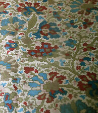 Antique 19thc French Indienne Kilim Floral Cotton Fabric  #2 ~ Blue Wine Sage
