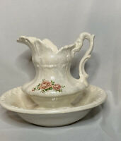 Vintage Antique Pearlized Large Water Pitcher And Basin Bowl w/Roses