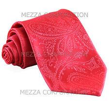 New Vesuvio Napoli polyester Men's necktie paisley wedding formal prom Coral