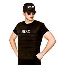 Adult Black Deluxe Padded SWAT FBI VEST Hat American Cop Fancy Dress Costume