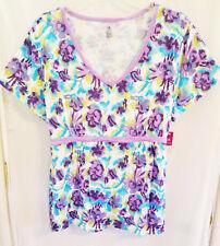 c8e243309344f Bobbie Brooks White Blue Purple Floral Tie Back Knit Top Plus Sz 2x 20 22