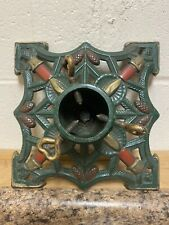 New ListingAntique German Christmas Tree Stand Cast Iron Pinecones Candles Green Red Gold