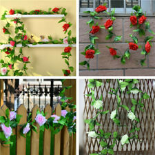 7.7ft Artificial Silk 9 Rose Flower Vine Leaf Garland Wedding Party Home Decor