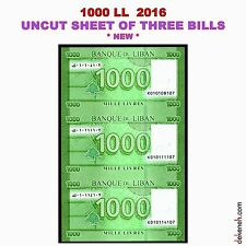 UNCUT SHEET OF 3 x 1000 Livres 2016 ...RARE...  Lebanon Liban