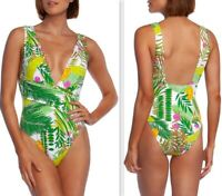 Trina Turk It's Bananas Women's Wrap Front Plunge One-Piece Swimsuit Multi Print