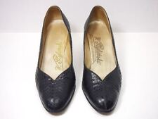 Genuine Vintage Snakeskin Pumps; Black; Handmade; Women's Sz. 6 to Sz. 6.5