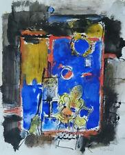 """Jacques Yankel """"Blue Atelier"""" Original Gouache (Water Color on Paper)"""