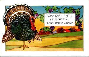 Embossed Thanksgiving Postcard Turkey Wishing You a Happy Thanksgiving~132573