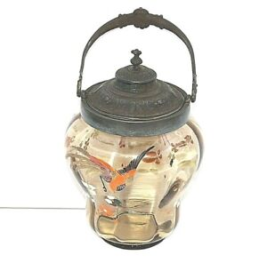 Biscuit barrel  Glass Gilded hand painted bird Butterfly Silver plate Antique A