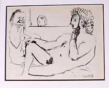 Pablo Picasso - Nude and Seated Man - Signed Heliogravure with COA