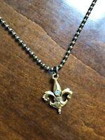 """Jewel Kade 24"""" Ball Chain Antique Gold + Fleur De Lis Pendant"""