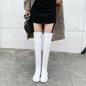 New Women's Over The Knee Round Toe Wedge Heels Boots Winter Long Boots Plus sz