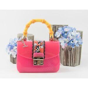 Furla PVC Leather Mango Candy Esotica Merin Mini Satchel Crossbody NWT $378