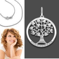 Lebensbaum Anhänger mit Herz Blätter Lebensbäumchen mit Kette Echt Silber 925