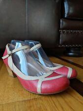 MIZ MOOZ 'Felicie' Womens Red/Nude Leather Block Heels SIZE 11 *Excellent*