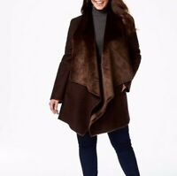 NWT Women Calvin Klein Draped Faux- Shearling Coat Wrap Robe Choclate Medium