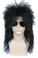 80s Mullet Wig Disco Rock Retro Cosplay Heavy Metal Fancy Dress Black Wig Women