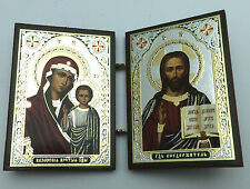 Russian Orthodox Wooden Icon Christ and Holy Mother Booklet with Church SMPK0071