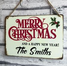 Merry Christmas Sign Personalised Vintage Hanging Plaque Xmas Decoration Gift