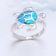 Retro 925 Silver Blue Fire Opal Tortoise Animal Rings Party Women Men Size 8