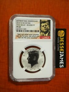 2014 W REVERSE PROOF SILVER KENNEDY HALF DOLLAR NGC PF69 HIGH RELIEF