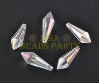 5pcs 35mm Chandelier Hanging Taper Faceted Crystal Glass Drop Pendants Clear AB
