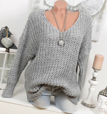 Pull Moelleux grossier en tricot 36 38 Blogger HIVER GRIS ALPAGA extra-large 1