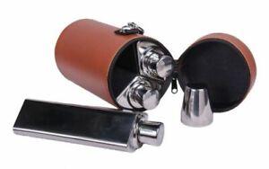 BONART Hip Flasks & Nip Cups Set Brown Leather Caddy Shooting Decanter Flask Set