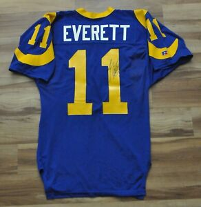 JIM EVERETT LOS ANGELES LA RAMS RUSSELL GAME CUT STYLE JERSEY BLUE SIGNED 40