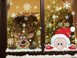 6 Sheet Peeping Santa and Rudolph Window Clings Snowflake Christmas Stickers