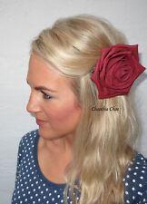 Dark Deep Red Big Rose Flower Hair Clip Choochie Choo Bride Bridal Wedding