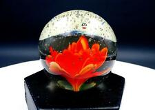 "STUDIO ART GLASS ORANGE FLORAL GREEN LEAVES CONTROLLED BUBBLES 2.5"" PAPERWEIGHT"