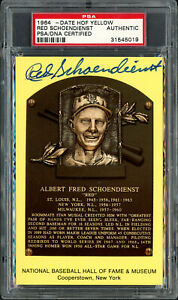 Red Schoendienst Signed HOF Plaque Postcard Cardinals PSA/DNA 31545019