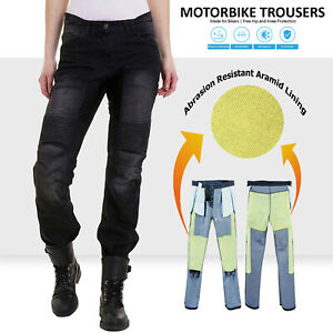 Womens Motorcycle Jeans Motorbike Pants Denim Trousers Aramid Protective Lining