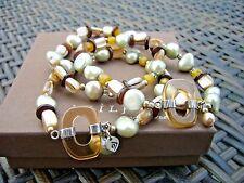 Silpada Icon Triple Strand Stretch Bracelet B2222 Pearl Shell Quartzite