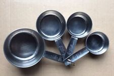 Vintage Set 4 Unbrand Stainless Steel Measuring Cups Kitchen Tools w/Ring