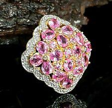 10 Karat Yellow Gold 3.00 CTW Pink Topaz & Diamond Floral Cocktail Ring