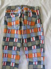 TORY BURCH authentic patchwork plaid print slim low rise jeans pants 24x28