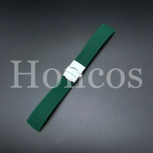 18-22 MM Color Silicone Rubber Watch Band Strap Deployment Clasp Fits Rolex