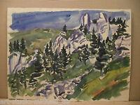 "Horst Heinen (1927-2001)""Bergige Landschaft mit Tannen"" großes Aquarell"
