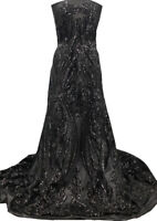 BLACK STRETCH MESH with BLACK SEQUINS; SEQUINED FABRIC by the YARD! Tulips