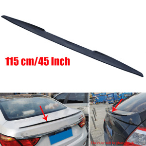"115cm/45"" Glossy Black PU Car Rear Roof Trunk Spoiler Lip Tail Wing Sticker Trim"