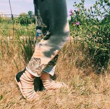 Fortress Of Inca Lisa Cream & Black Leather Modern Gladiator Zip Sandals 9 New