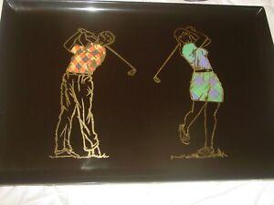 "COUROC GOLFERS BAR SERVING TRAY 18X12"" ART MODERN MID CENTURY RETRO GOLF SPORT"
